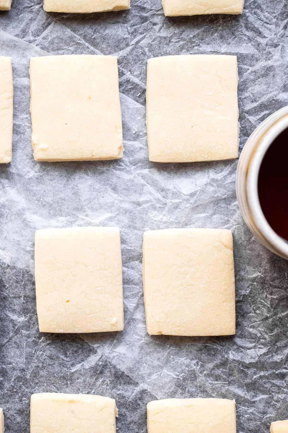 close up overhead of dairy free vegan shortbread cookies