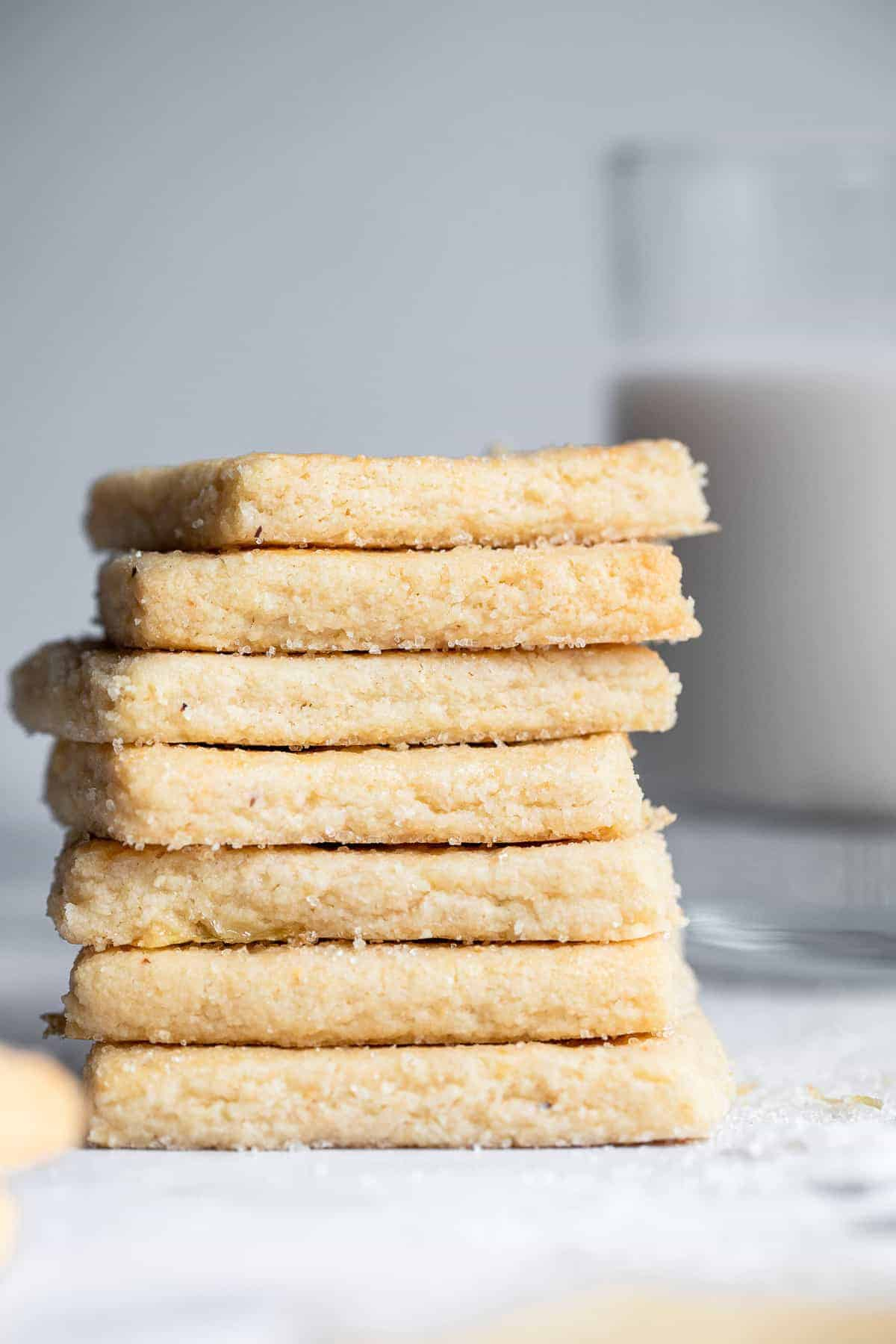 a stack of gluten free almond flour shortbread cookies
