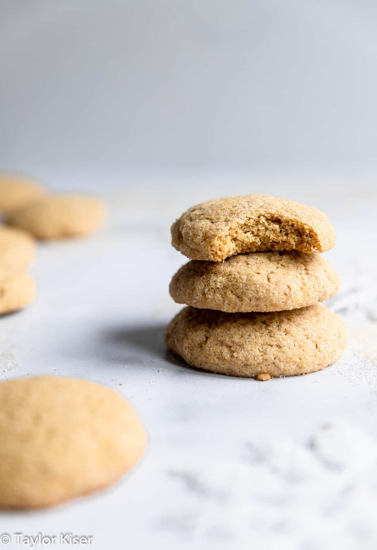 a stack of low sugar healthy sugar cookies on a table