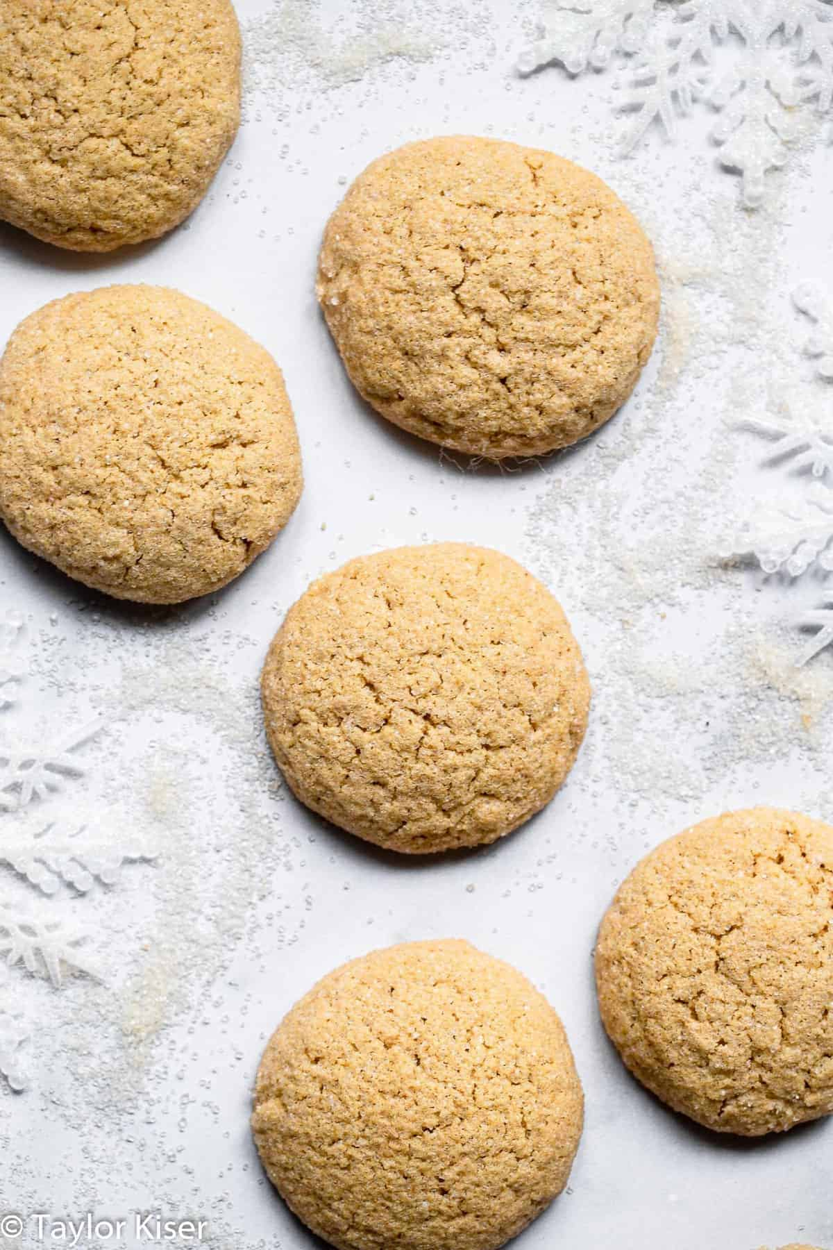 close up on healthy sugar cookies overhead on a table