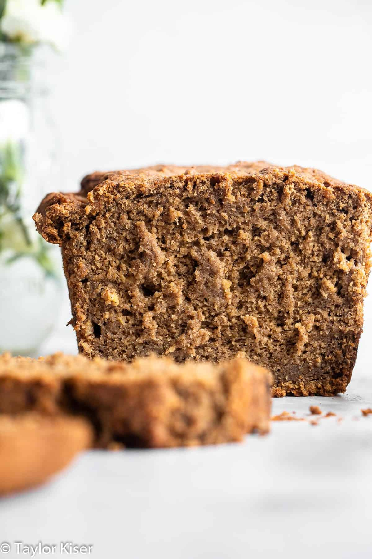 close up of healthy vegan banana bread on a counter