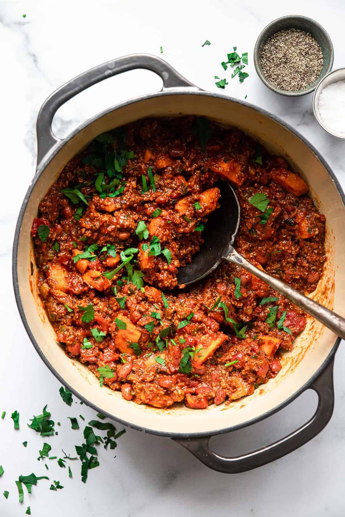 ground turkey and sweet potato chili in a large serving pot