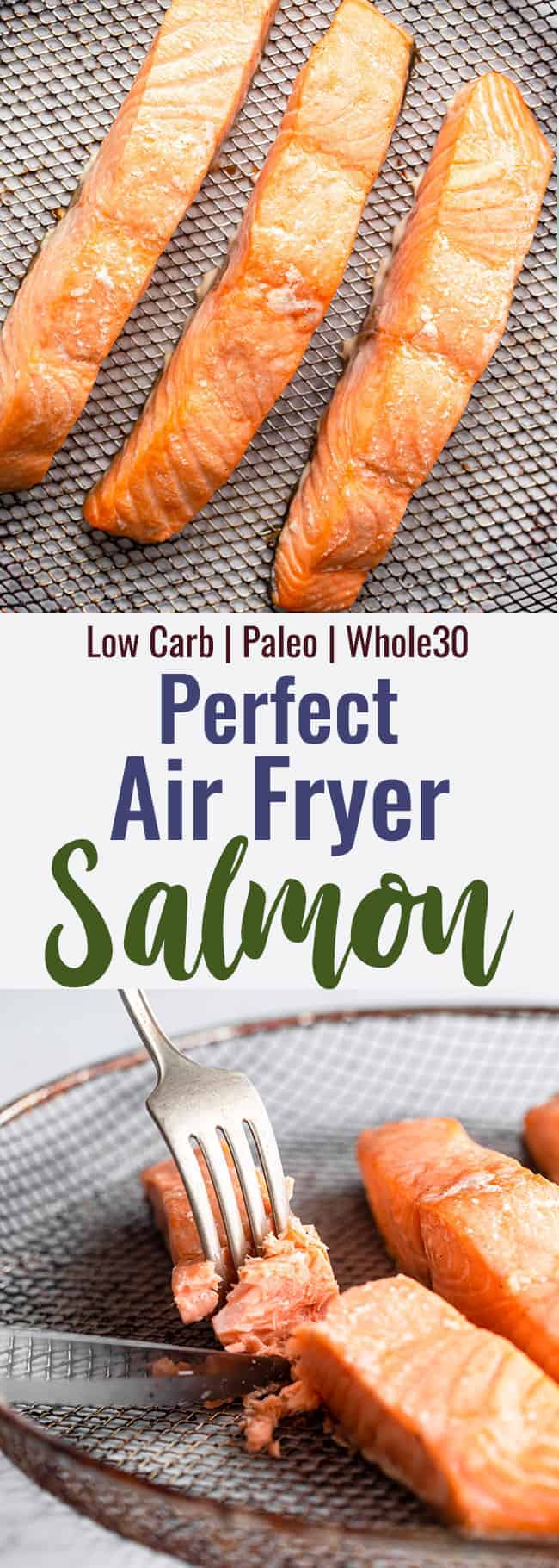 Air fryer salmon collage photo