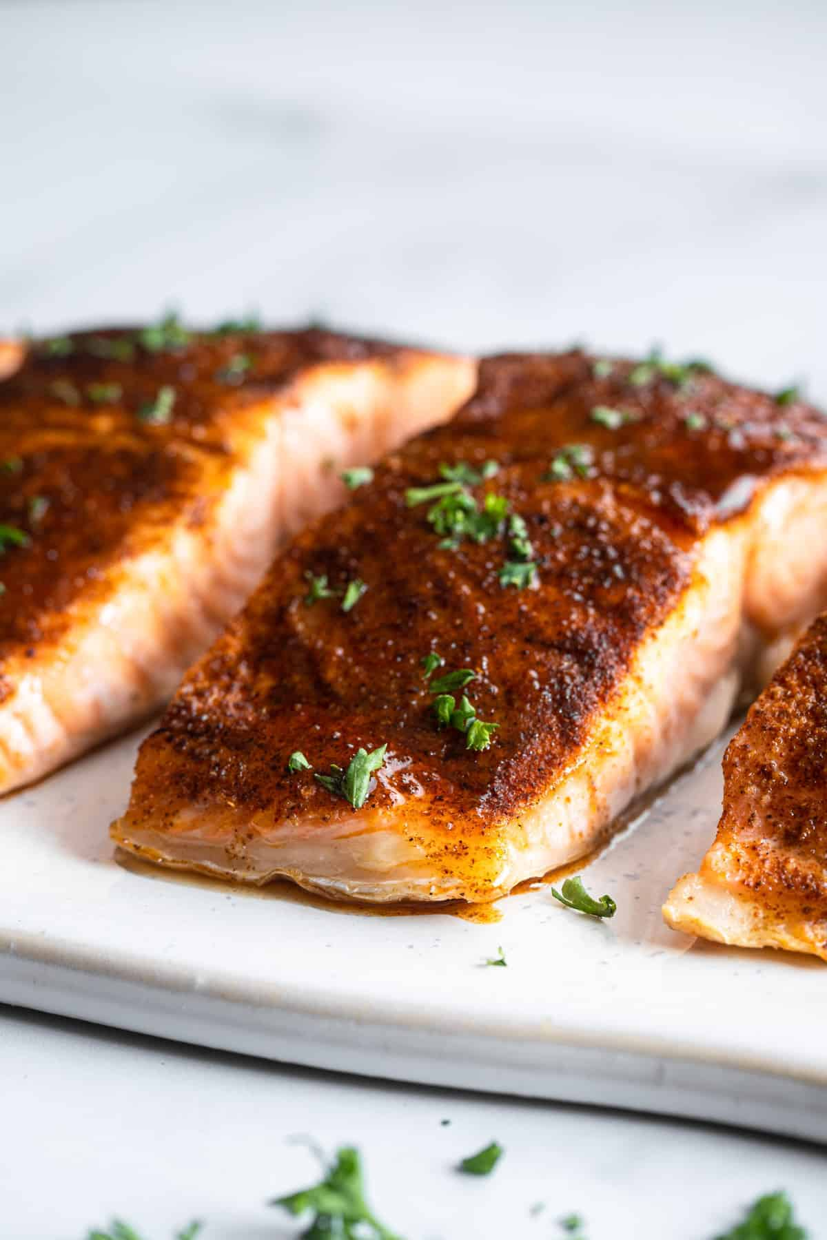 Honey Cajun Salmon side view close up of fillets