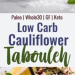 Cauliflower Tabbouleh collage photo
