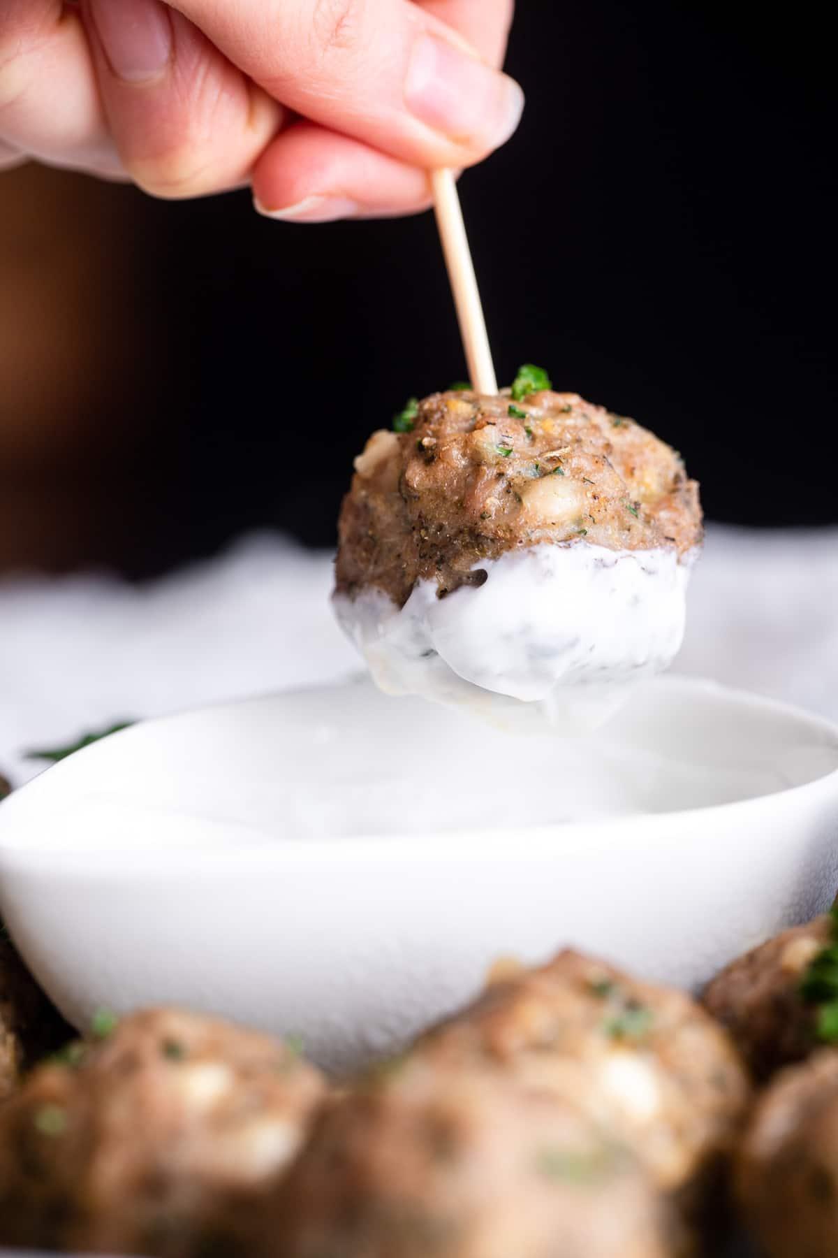 turkey meatball recipe close up with sauce