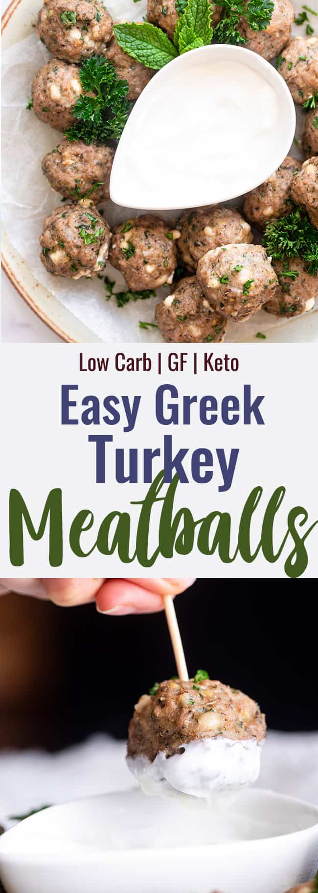 Greek Turkey Meatballs collage photo