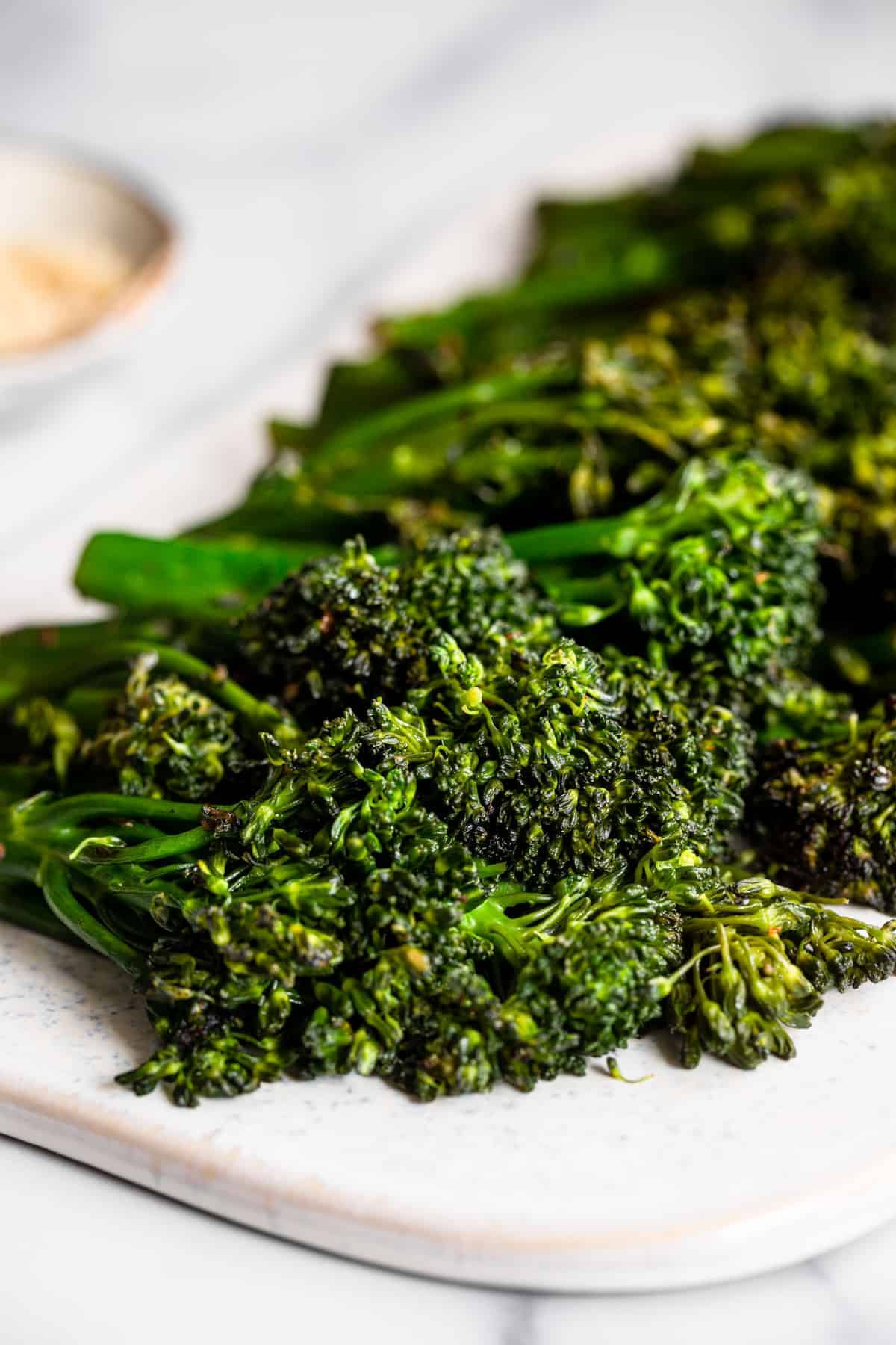 Sautéed broccolini stalks ready to be cooked