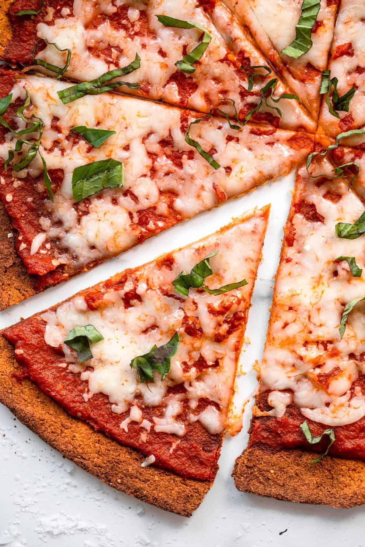Sweet Potato pizza Crust close up cut into pieces