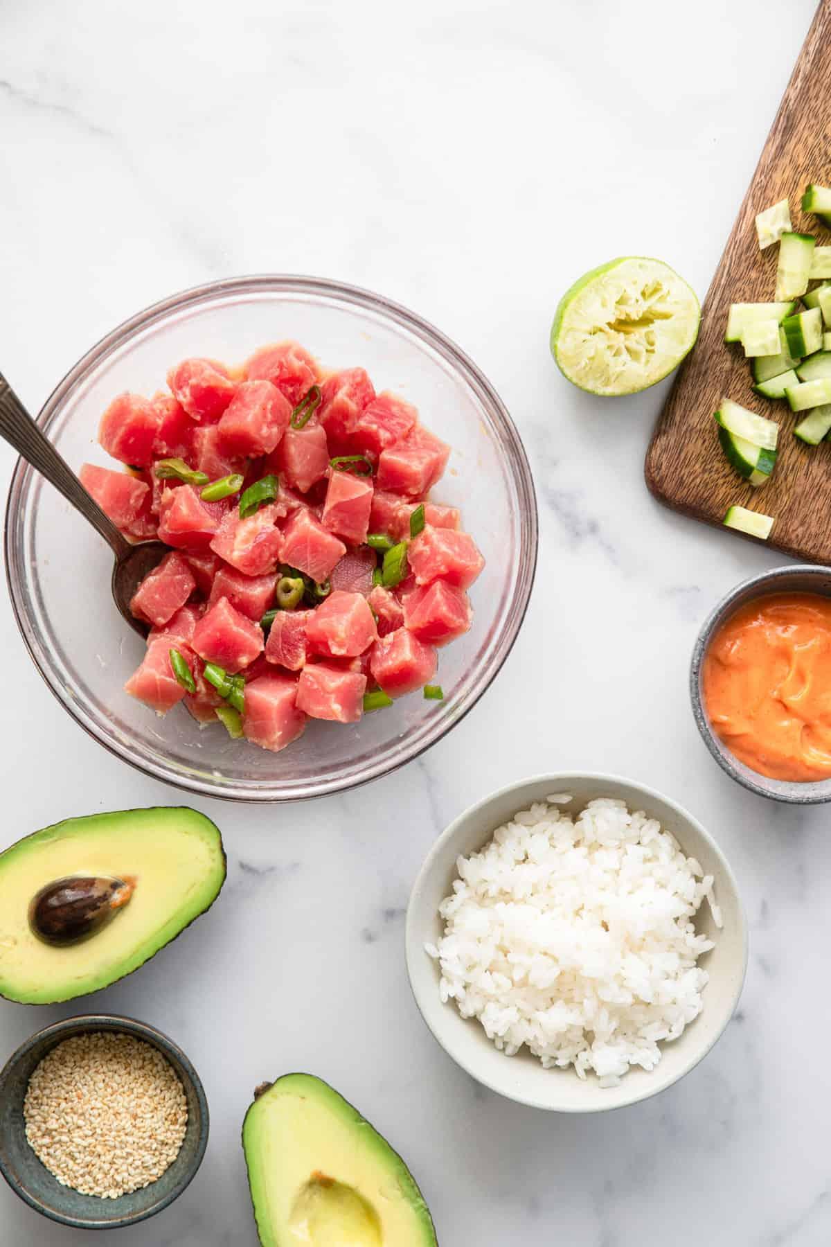 tuna bowl ingredients being prepped