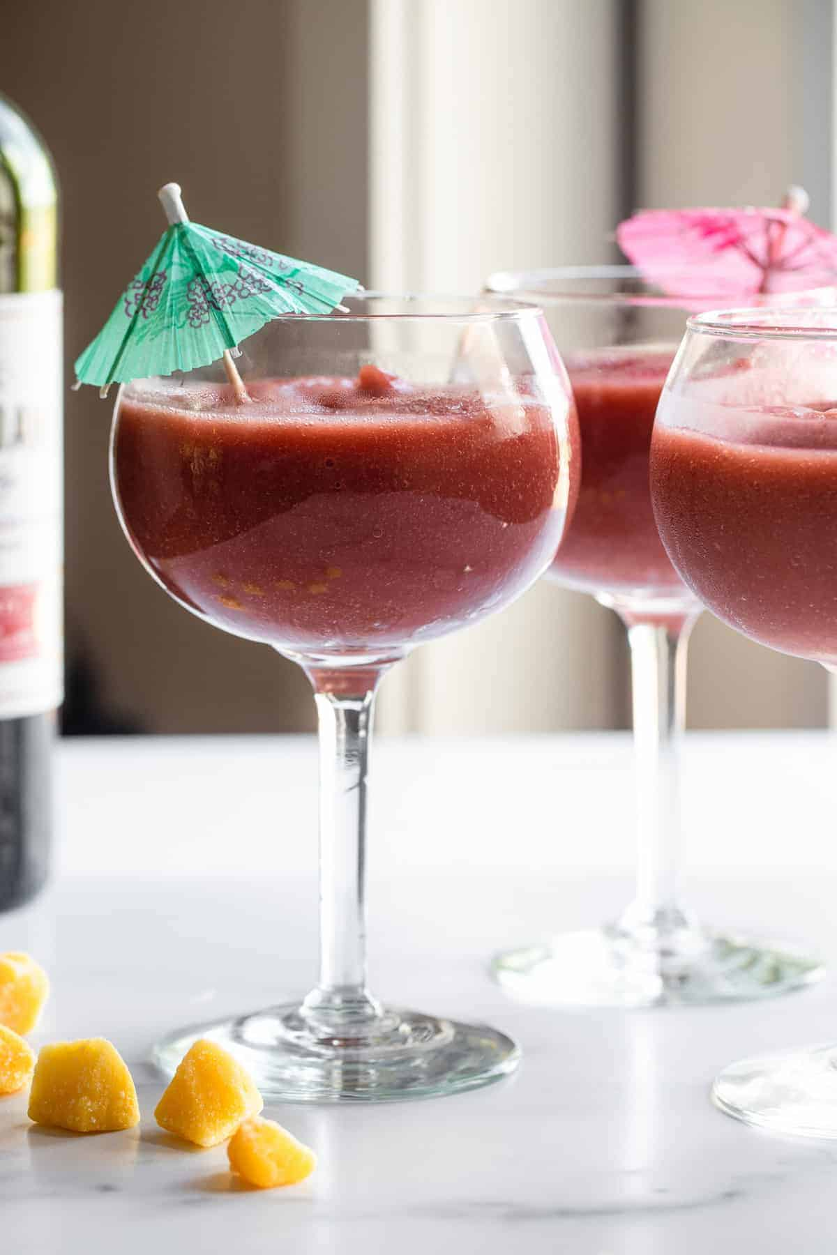 wine glass filled with frozen sangria recipe on a table