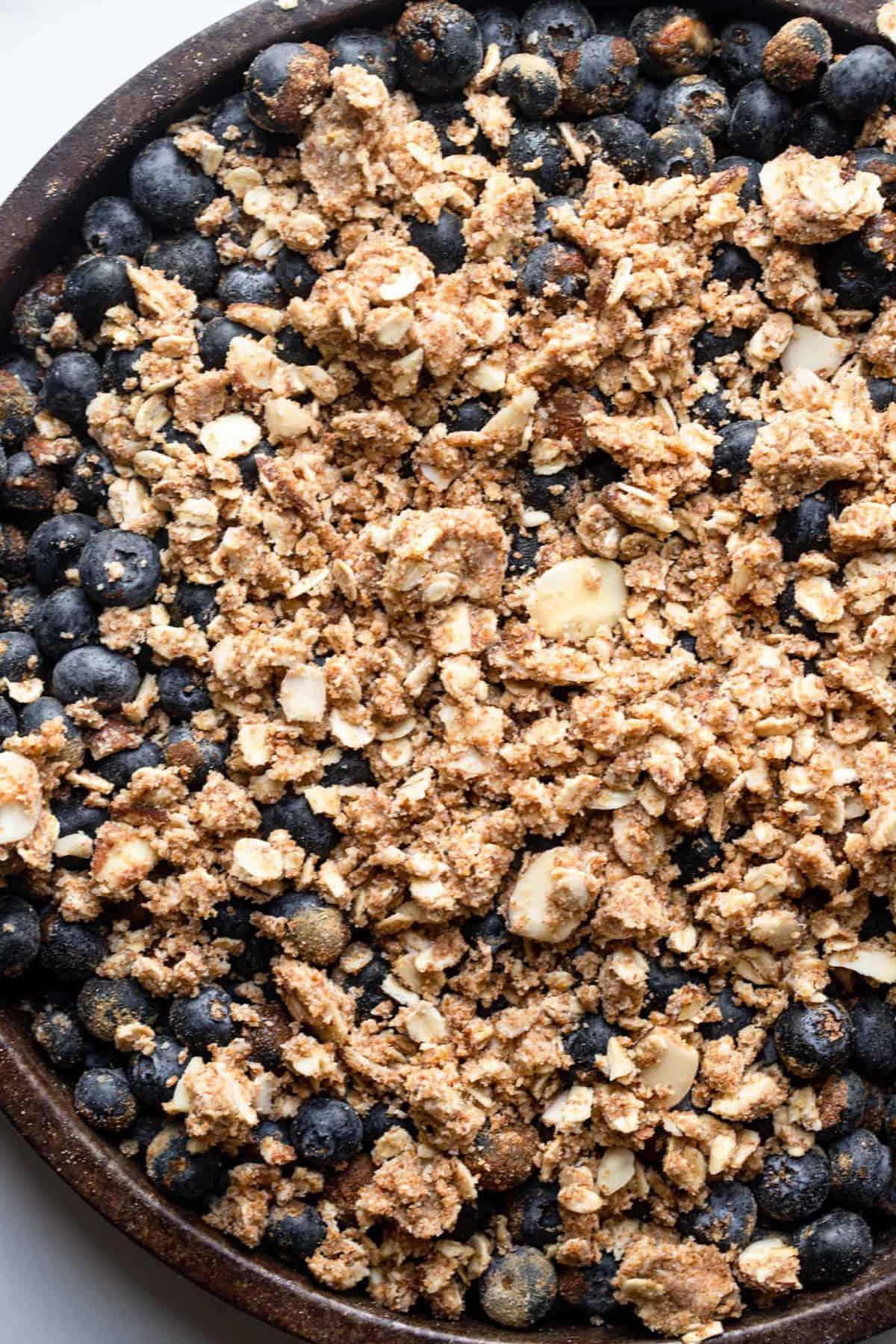 Extreme close up of Gluten Free Blueberry Crisp