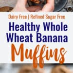 whole wheat banana muffins collage photo