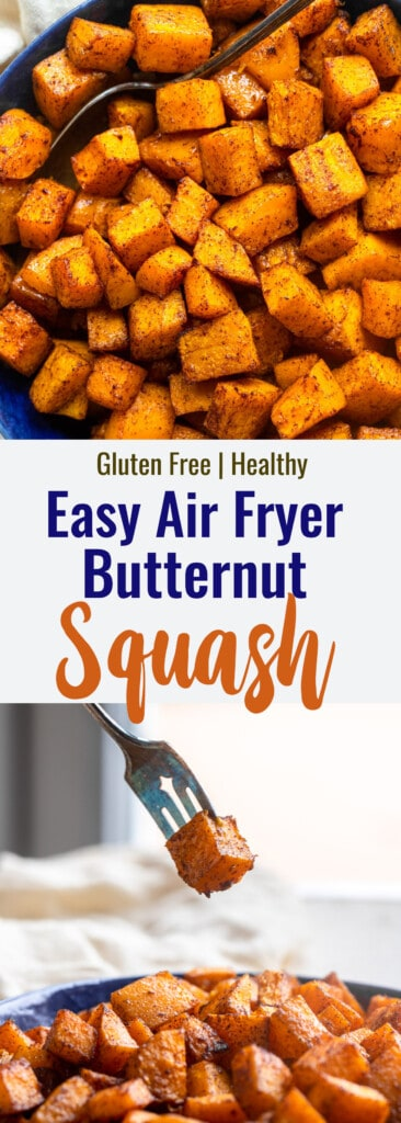 air fryer butternut squash collage photo
