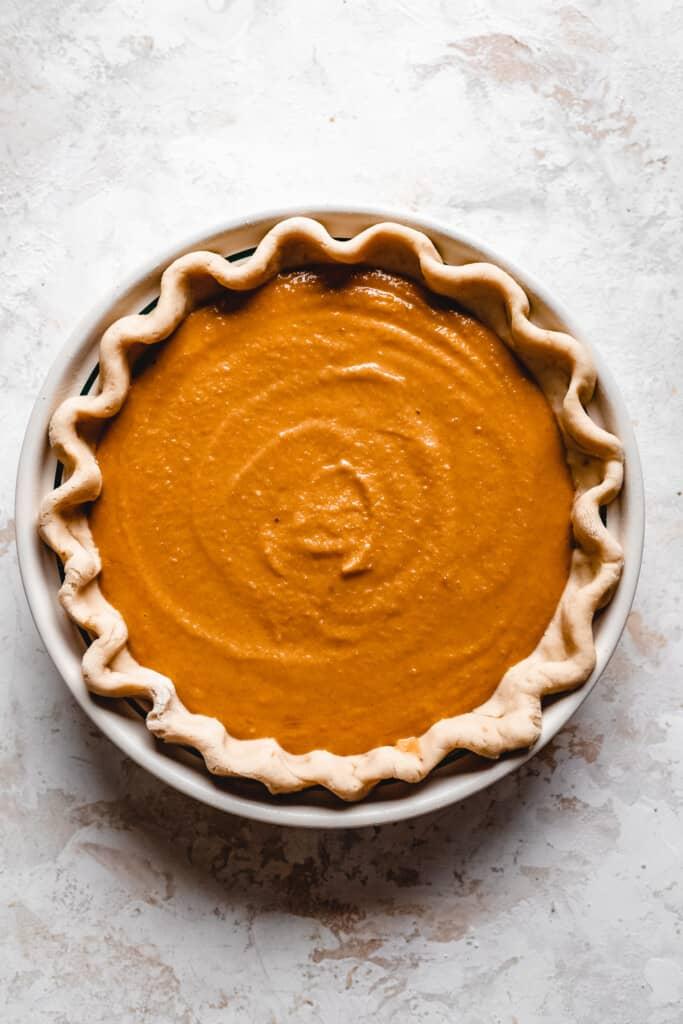 Creamy Vegan Butternut Squash Pie in a pie dish