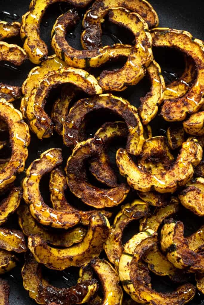 close up of roasted delicata squash after being cooked