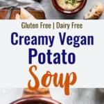 vegan potato soup collage photo