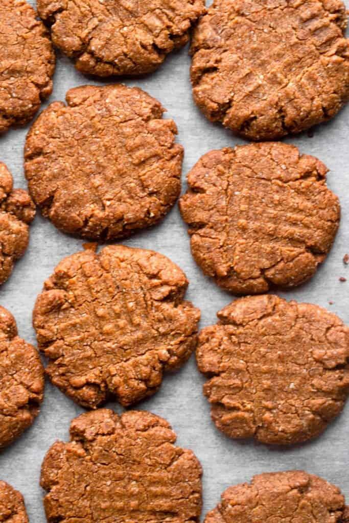 almond flour peanut butter cookies on a baking sheet