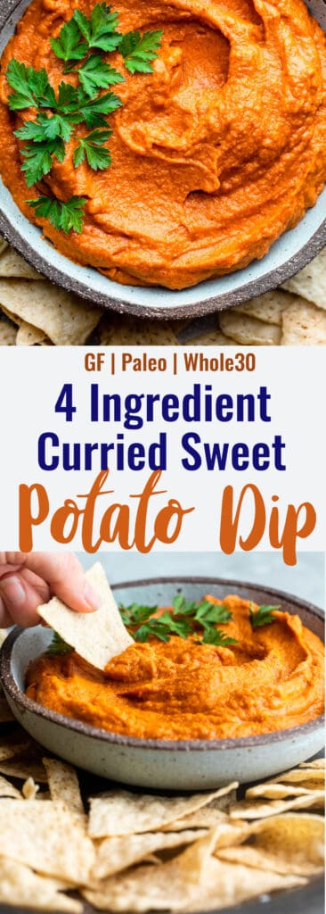 curry sweet potato almond butter dip collage photo