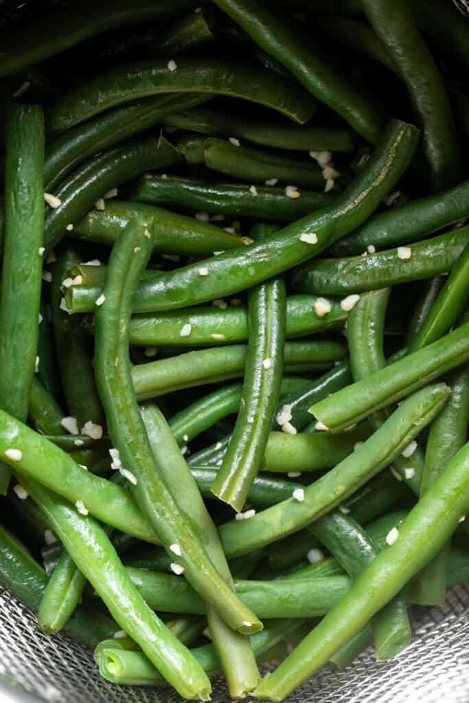 close up view of seasoned Instant Pot Green Beans