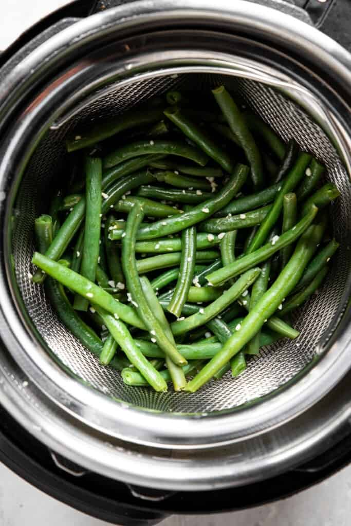 Instant Pot Green Beans in an instant pot ready to cook