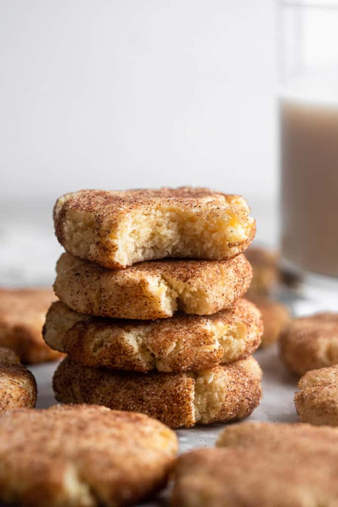 Keto Snickerdoodles stacked on top of each other