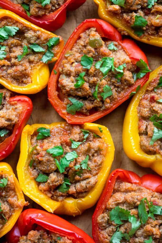 arranged Whole30 Stuffed Peppers on a cutting board