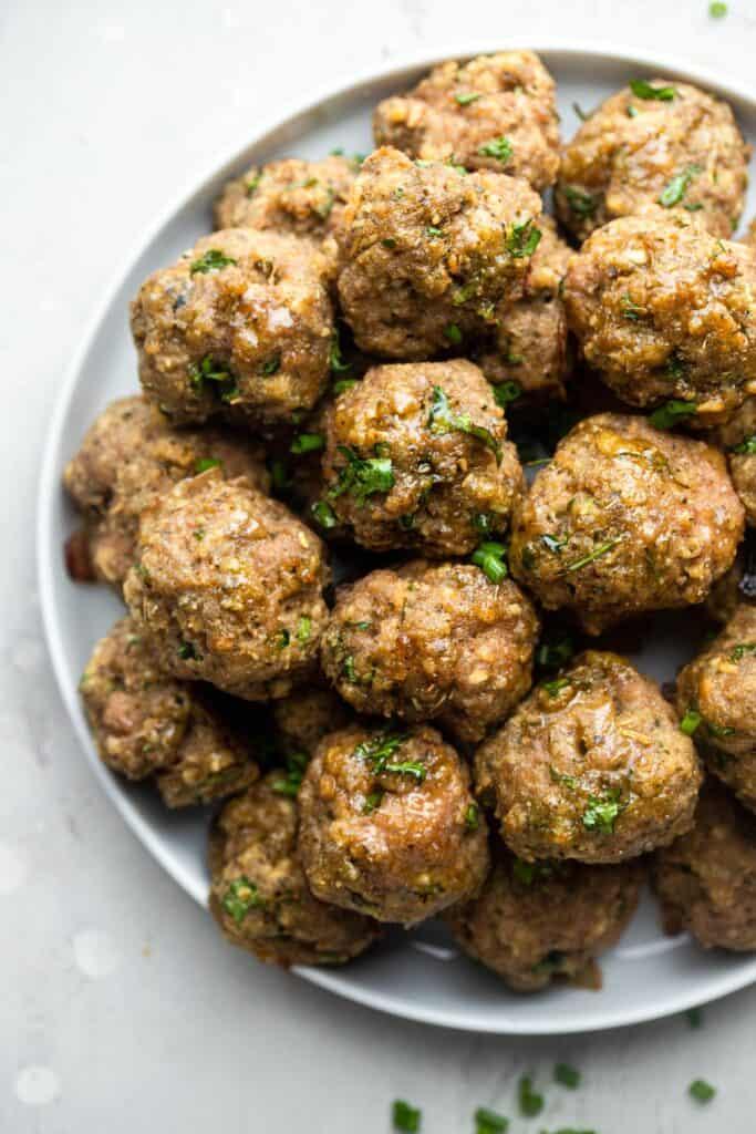 a bowl full of Healthy Turkey Meatballs