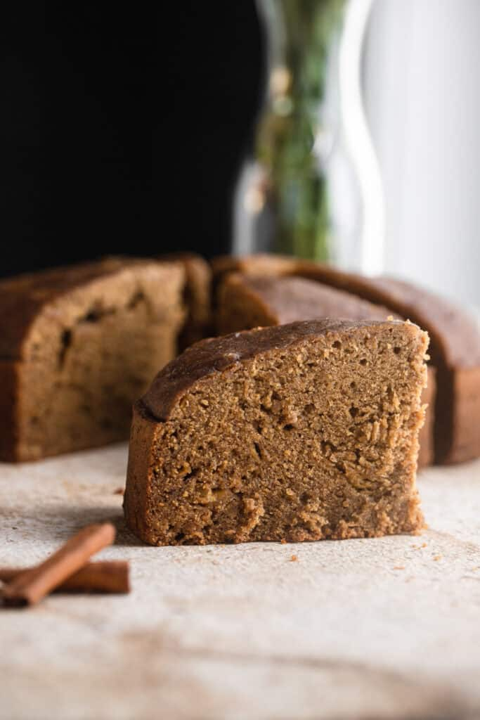 a slice of Instant Pot Banana Bread on a table