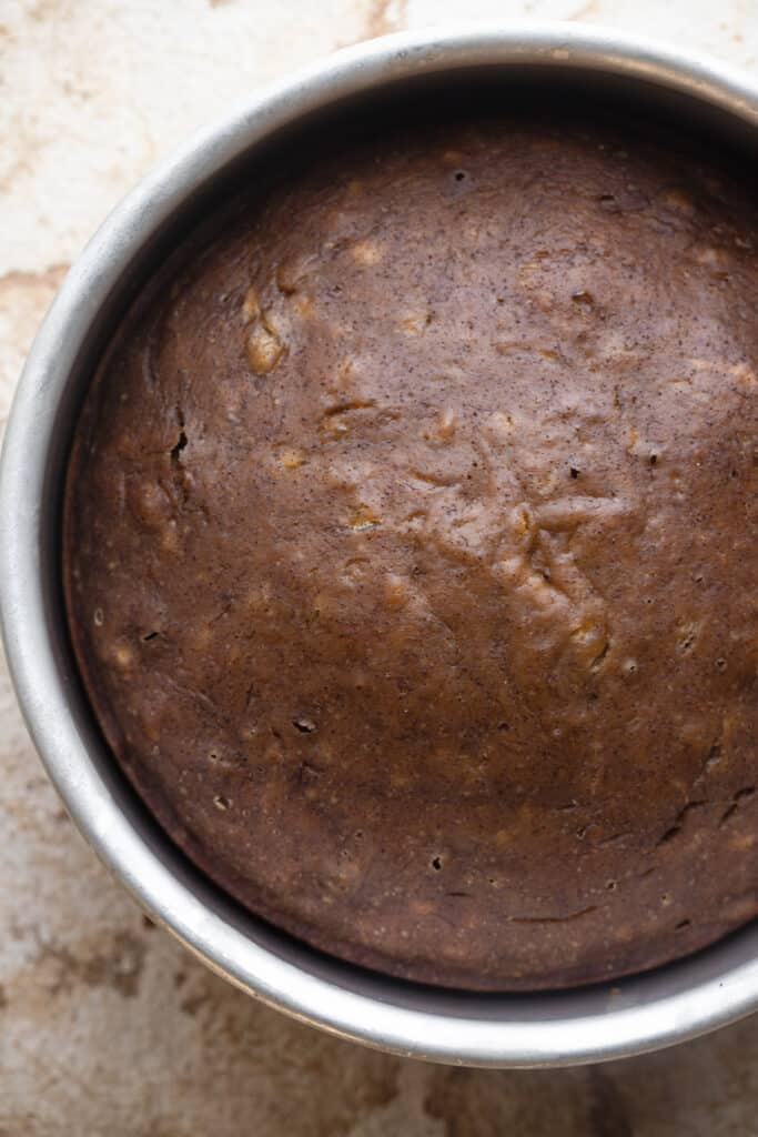 cake pan with Instant Pot Banana Bread in it