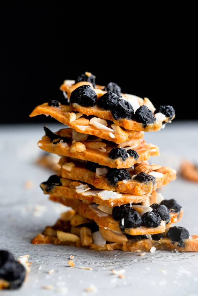 a stack of Sweet Potato Blueberry Coconut Cashew Bark on a table