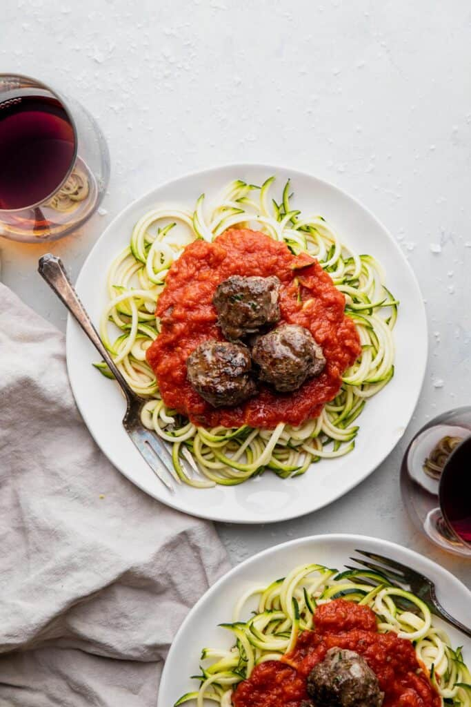 noodles with Whole30 Meatballs on top