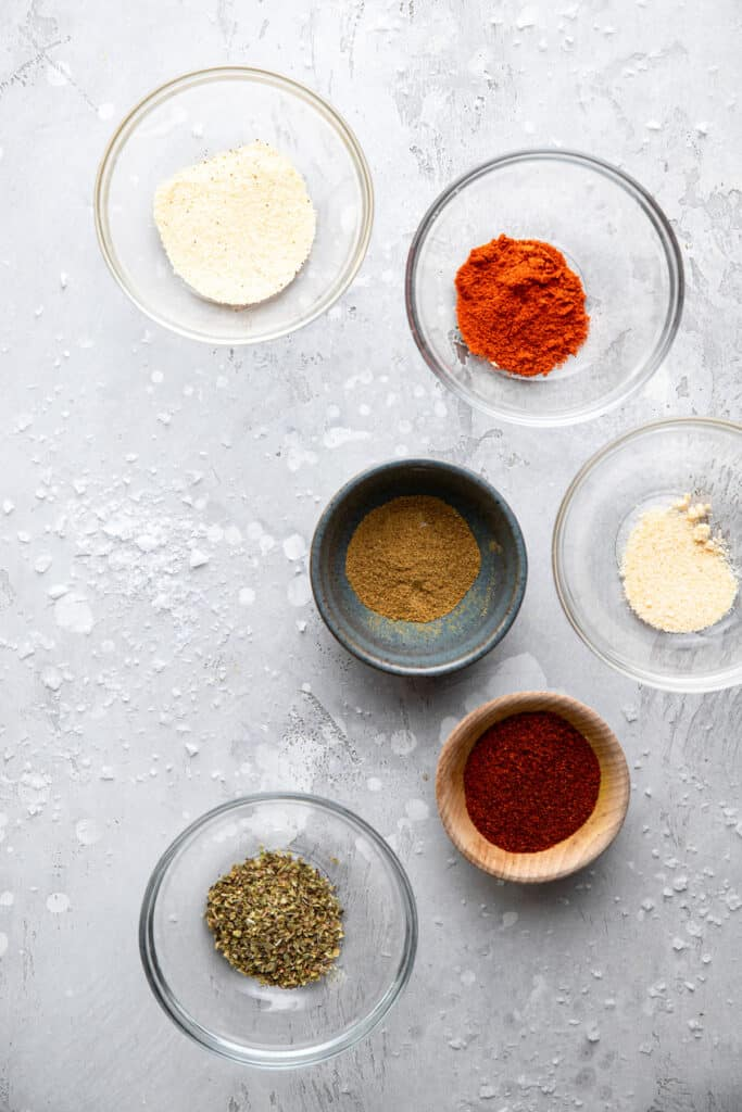 Whole30 Taco Seasoning ingredients in small bowls