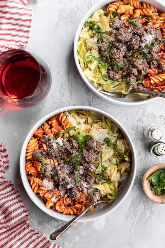 two bowls of Beef and Cabbage Pasta Bowls