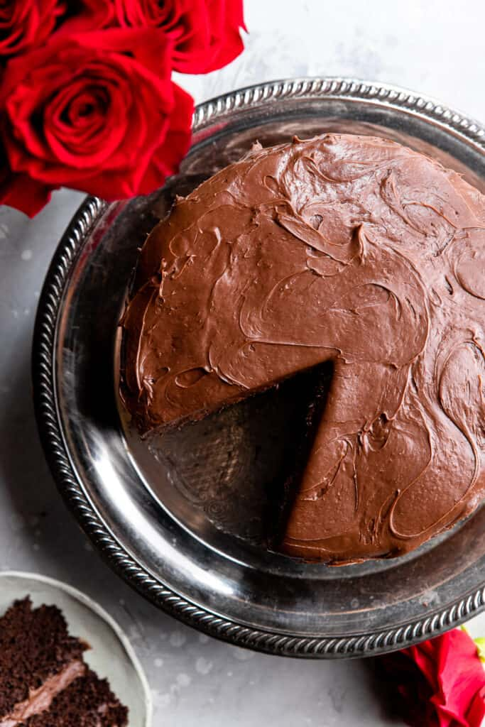 top view of Dairy Free Chocolate Cake with a slice cut out