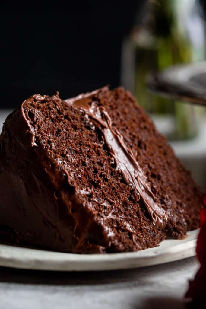 one slice of Dairy Free Chocolate Cake