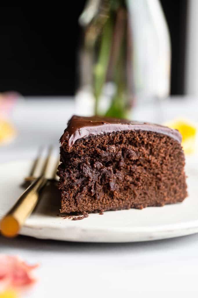 one slice of Instant Pot Chocolate Cake