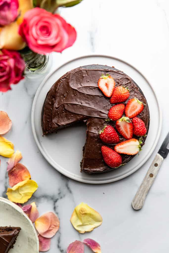Instant Pot Chocolate Cake with strawberries and flowers