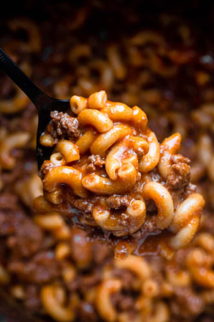 spoon holding some Instant Pot Hamburger Helper