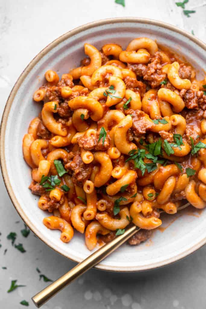 close up view of a bowl filled with Instant Pot Hamburger Helper