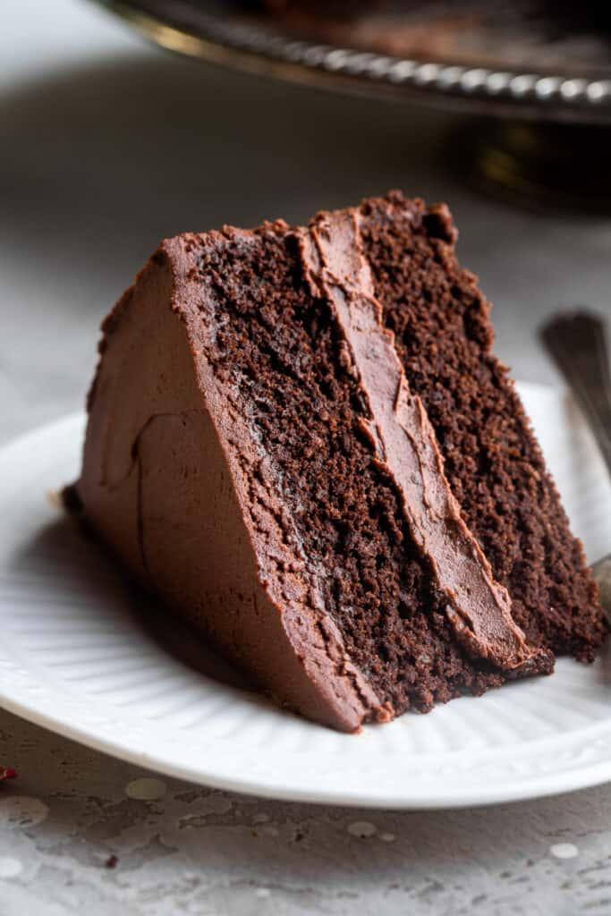 one slice of Keto Chocolate Cake on a plate