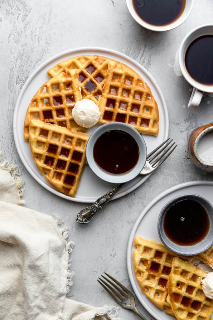 a plate of Dairy Free Waffles on a table