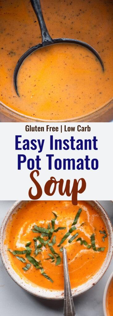 Instant Pot Tomato Soup collage photo