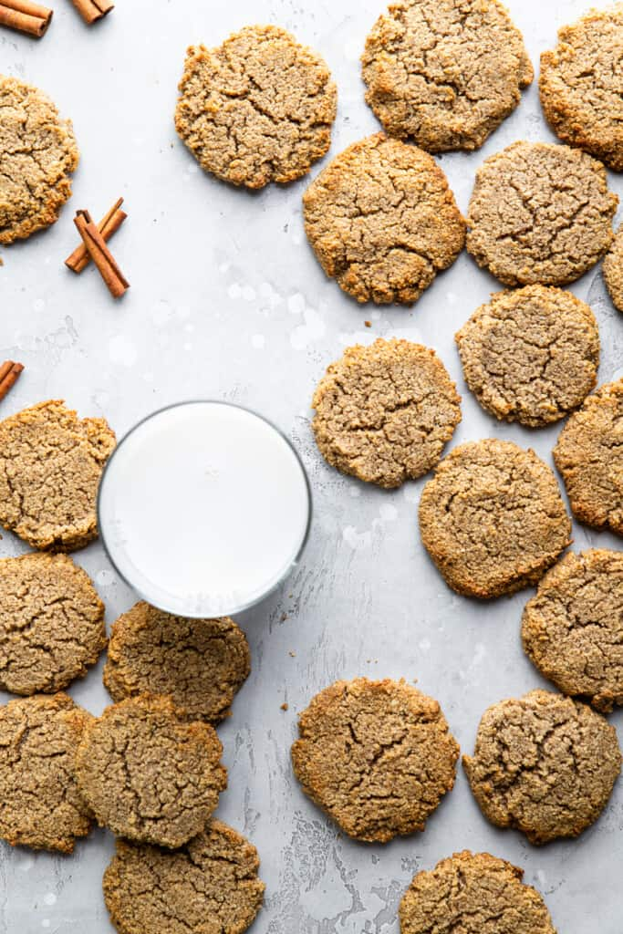 Keto Cream Cheese Cookies around a glass of milk