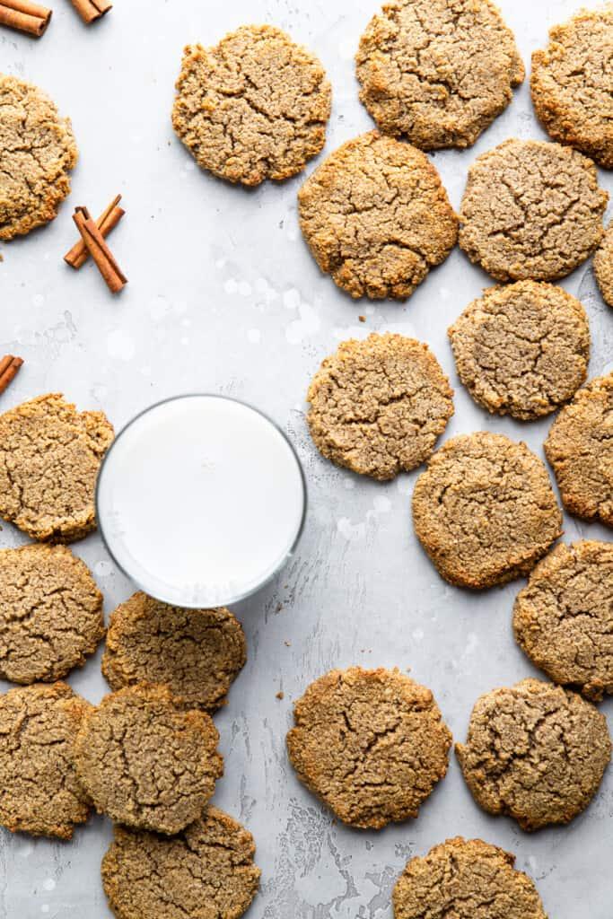 Keto Cream Cheese Cookies around a glass of milk