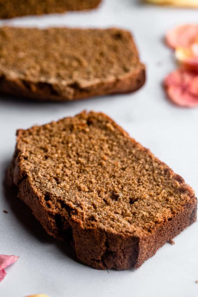 a slice of Oat Flour Banana Bread