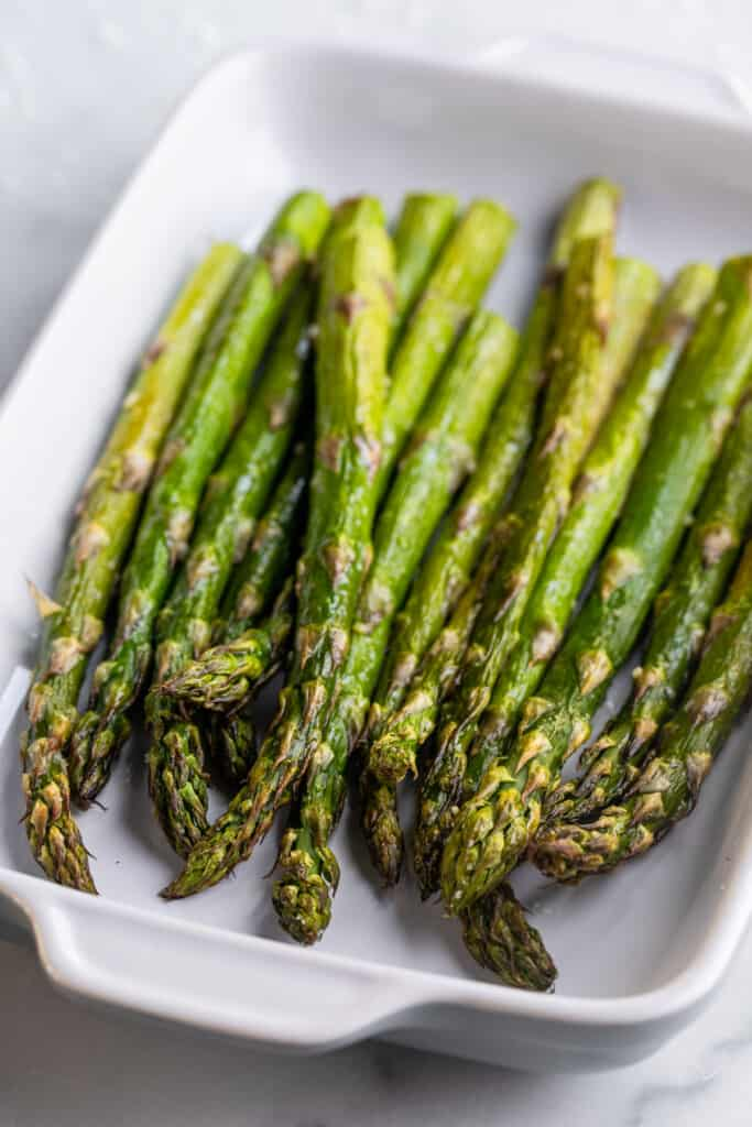 Air Fryer Asparagus in a dish on a table