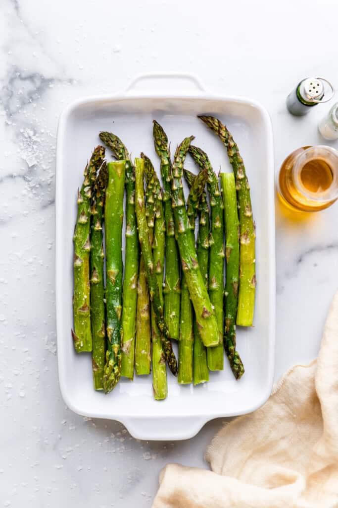 Air Fryer Asparagus in a serving dish