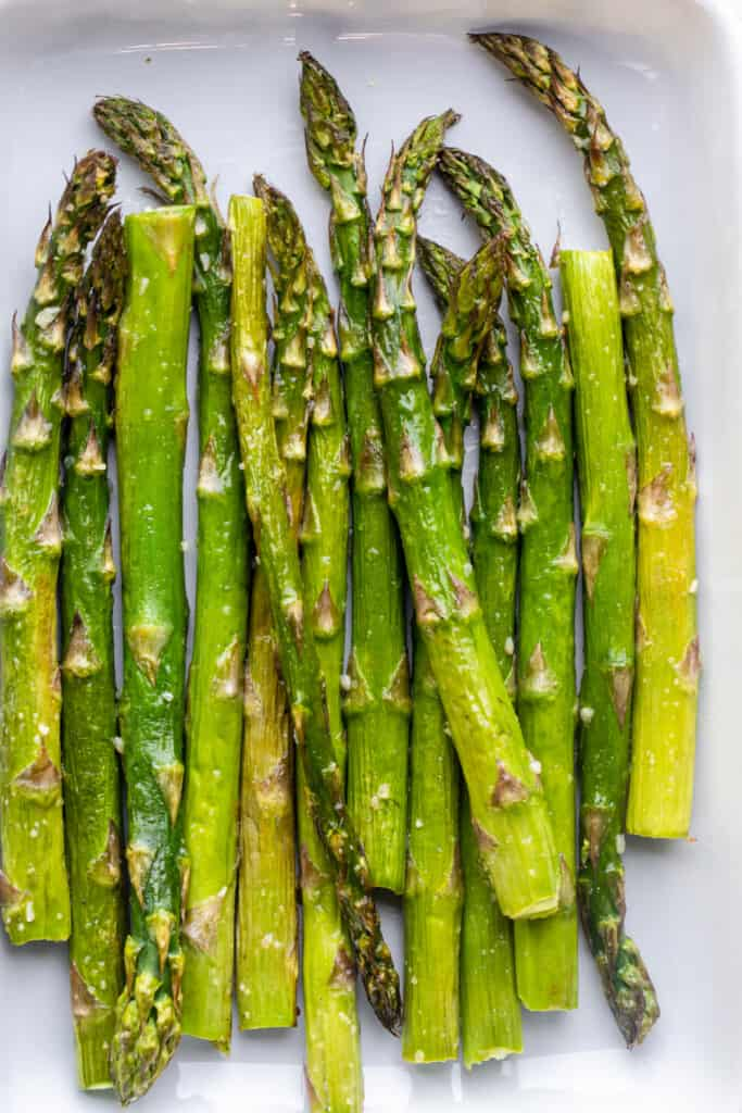 a bunch of Air Fryer Asparagus on a plate