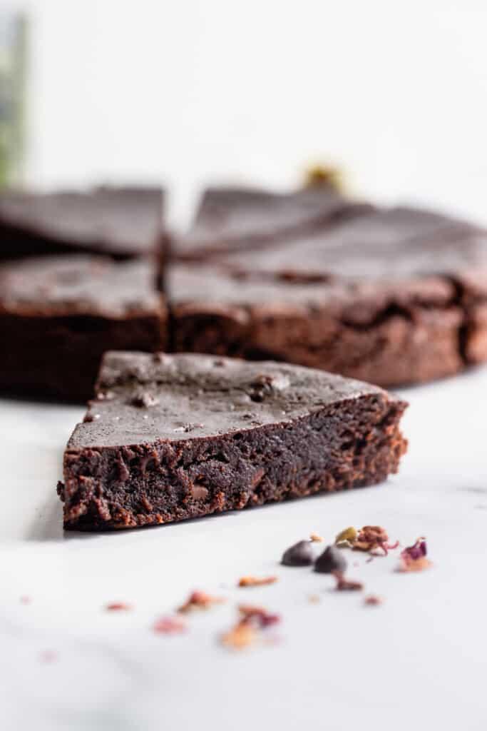 one slice of Instant Pot Brownies